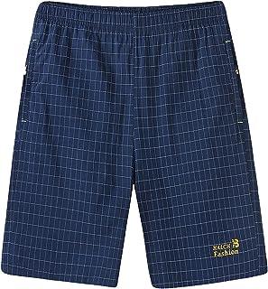 GTHTTT Men's Extended Sizes Knit Sleep Pant Sweat Shorts Zipper Pocket Plaid Pj Bottoms Workout Gym Casual Above Knee