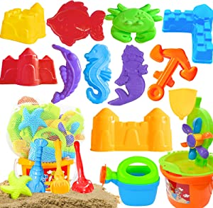 Scientoy Beach Toys, 19 Pcs Sand Toys Set, Summer Outdoor Sandbox Toys for Kids & Toddlers with Sand Water Wheel, Beach Shovel Tools, Beach Bucket, Sand Molds, Watering Can & Mesh Bag for Beach Party