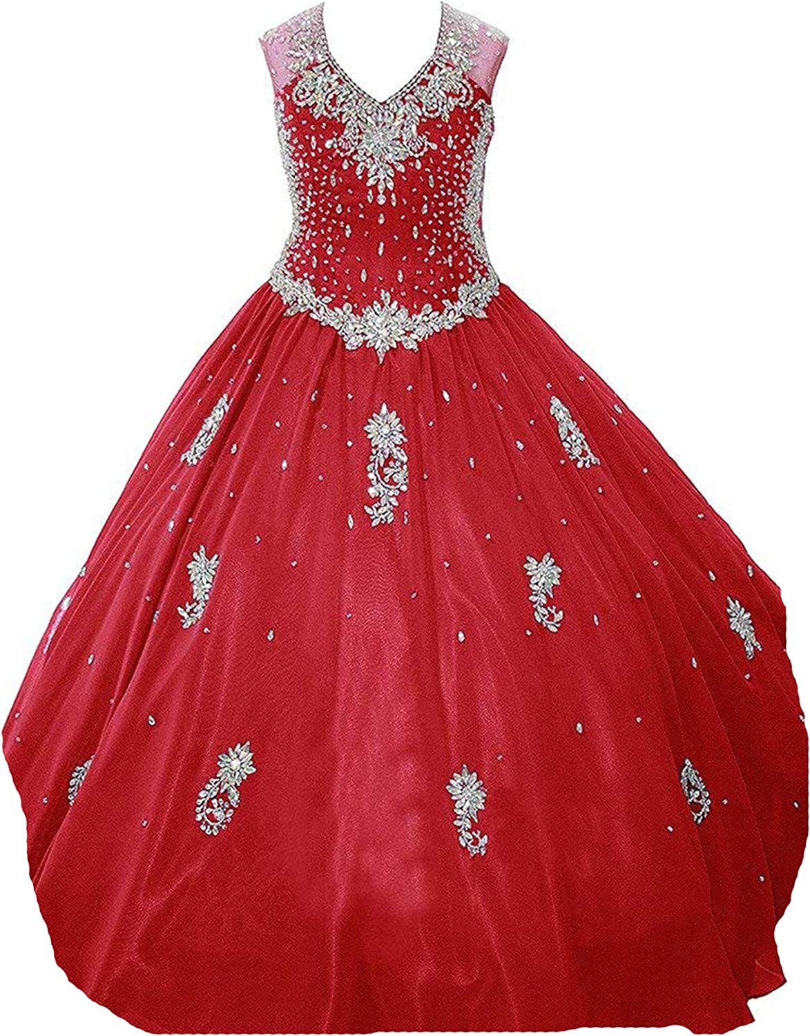 Wenli Girls Floor Length Glitz G Pageant Princess Dresses Formal Sale Special Free Shipping New Price