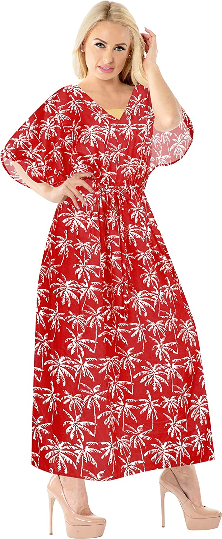 LA LEELA Women's One Size Skull Halloween Costume Caftan Elegant Dress Cover Up