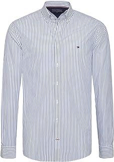 e9e332c2 Tommy Hilfiger mens MW0MW07769 Tommy Hilfiger Shirt for Men - Blue & White