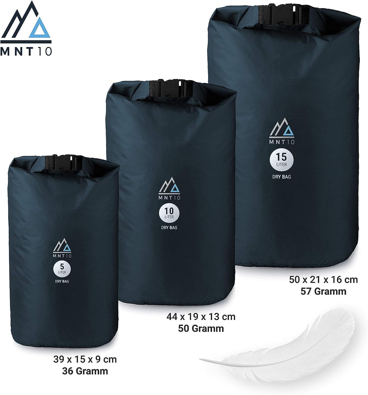 15 L I Sacco Impermeabile Ultra Leggera e Resistente per Viaggi Outdoor e Campeggio I Borsa Impermeabile 10 L MNT10 Dry Bag Ultra-Light I Borsa da 5 L