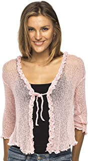 Womens Sheer Shrug Cardigan Sweater Ruffle Lightweight Knit