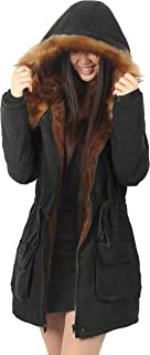 4How Womens Hooded Warm Jacket Parka with Faux Fur Coat