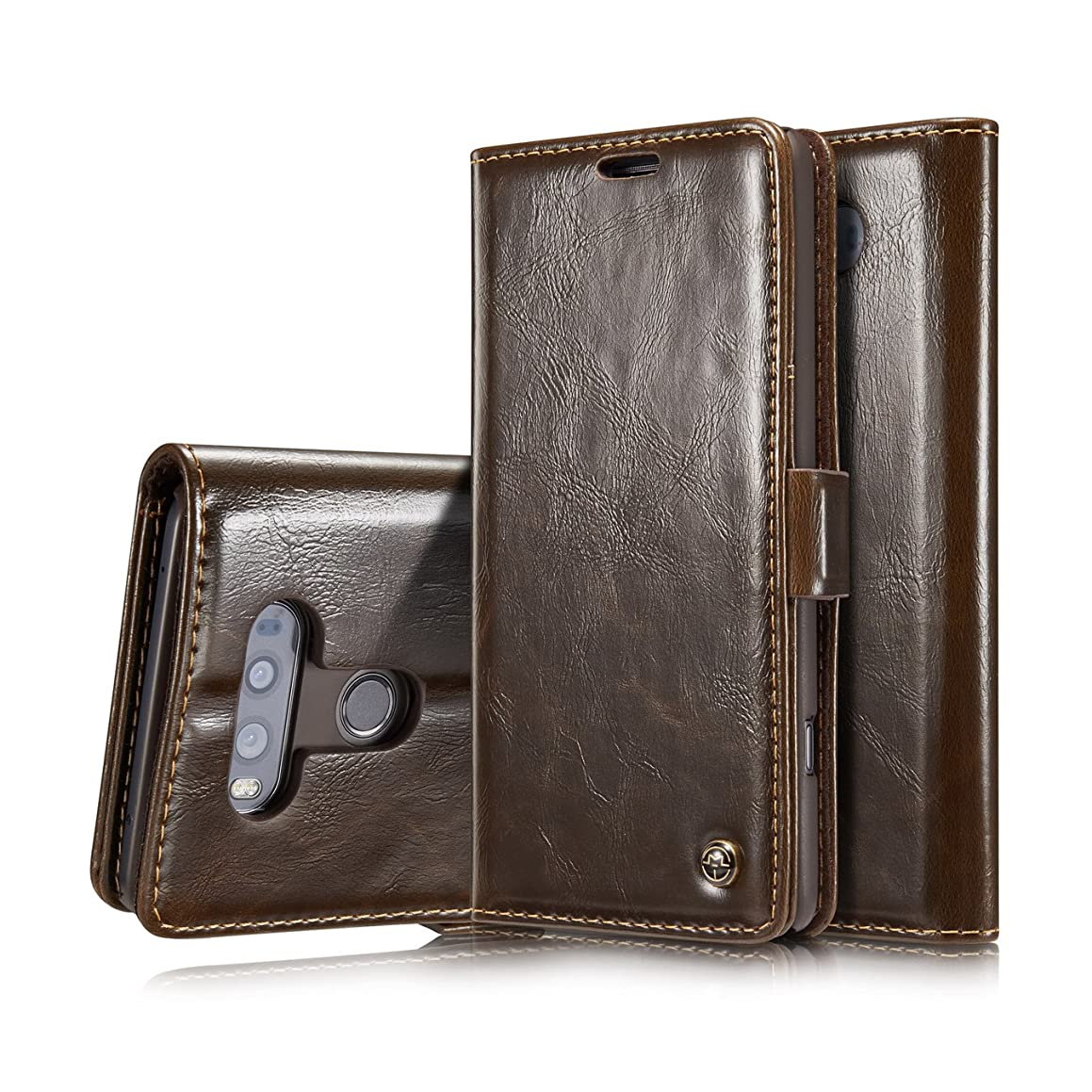 V20 Case,LG V20 Wallet Case,AKHVRS Slim Premium Leather Magnet Cover Wallet Leather Case Flip Cover Folio Case [Card Slot][Wallet][Magnetic Closure] for LG V20 (V20 Brown)