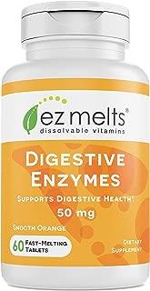 EZ Melts Digestive Enzymes, 50 mg, Sublingual Vitamins, Vegan, Zero Sugar, Natural Orange Flavor, 60 Fast Dissolve Tablets