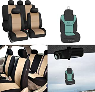 FH Group FB083115 Neoprene Waterproof Full Set Car Seat Covers, (Airbag & Split Ready) w. Gift, Beige/Black Color-Universal fit for Cars, auto, Trucks, SUV