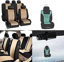 FH Group FB083115 Premium Neoprene Seat Covers, Airbag & Split Compatible w. Free Air Freshener, Beige/Black Color - Fit Most Car, Truck, SUV, or Van