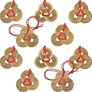 Boao 10 Sets Chinese Fortune Coins Feng Shui Coins I-Ching Coins Traditional Coins with Red String for Wealth and Success, 5 Styles