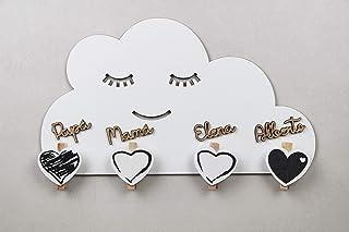 KARIVOO Colgador de pared Nube con pinzas personalizado con nombre para colgar mascarillas, fotos, notas, fechas, recetas ...