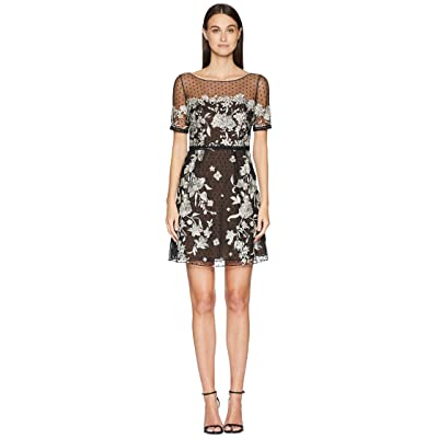 Marchesa Notte Cap Sleeve Boat Neck A-Line Embroidered Flocked Tulle Cocktail (Black/White) Women