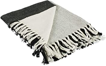 """DII Four Square Woven Throw, 50x60 with 3"""" Fringe, Black"""