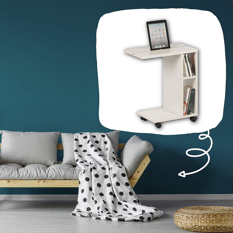 50 x 60 x 30 cm Color Blanco Material de Madera Stella Trading Latino-Mesa Auxiliar Moderna con Ruedas