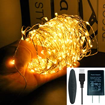 66ft 200 LEDs Waterproof Fairy Copper String Lights with UL588 USB Adapter for Halloween Thanksgiving Christmas Bedroom Decor Christmas Patio Indoor Outdoor, Warm White