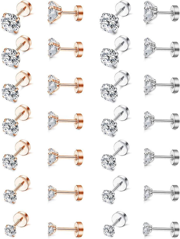 Thunaraz 14Pairs 20G Stainless Steel Round Cubic Zirconia Stud Earrings Set for Women Men Piercing Barbell CZ Earrings 2mm-8mm