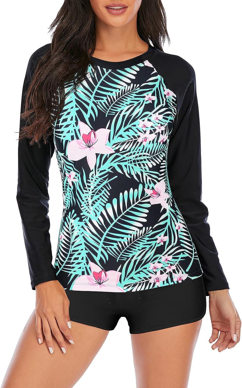 Zando Two Piece Swimsuit for Women Long Sleeve Womens Swimsuits Athletic Tankini Set Bathing Suit Rashguard Shirt