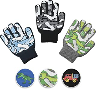 3 Pack - Magic Stretch Winter Kids Gloves for Boys, Kid & Children, Toddler - Dino, Camo, Trucks