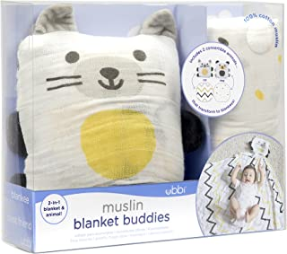 Ubbi 2-in-1 Convertible Baby Pillow and Cotton Blanket, Cat/Dog
