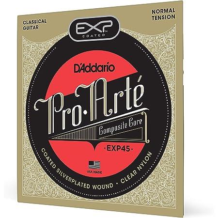 D'Addario EXP45 - Juego de Cuerdas para Guitarra Clásica de Nylon con Entorchado de Plata (Tensión Media), Transparente