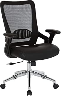 Office Star EMH6921C-EC3 Screen Back Adjustable Office Desk Chair with Padded Seat and Lumbar Support, Black