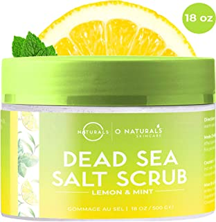 O Naturals Exfoliating Lemon Oil Dead Sea Salt Deep-Cleansing Face & Body Scrub. Anti-Cellulite Tones Treats Oily Skin, Acne, Ingrown Hairs & Dead Skin Remover. Essential Oils, Sweet Almond 18oz