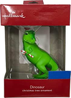 Hallmark 2018 T-Rex Dinosaur with Christmas Hat and Candy Cane Ornament