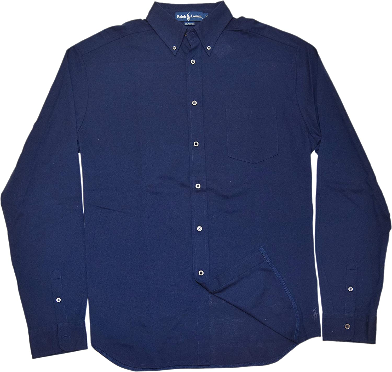 Ralph Lauren Polo Mens Cotton Classic Fit Dress Shirt Solid Navy Blue Medium