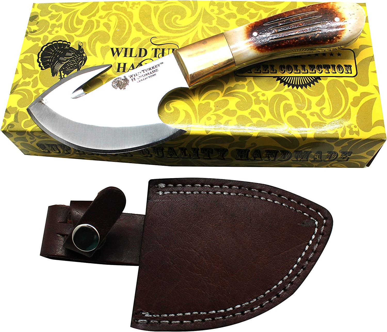 Wild Turkey Handmade Collection Full Tang Fixed Blade Gut Hook S