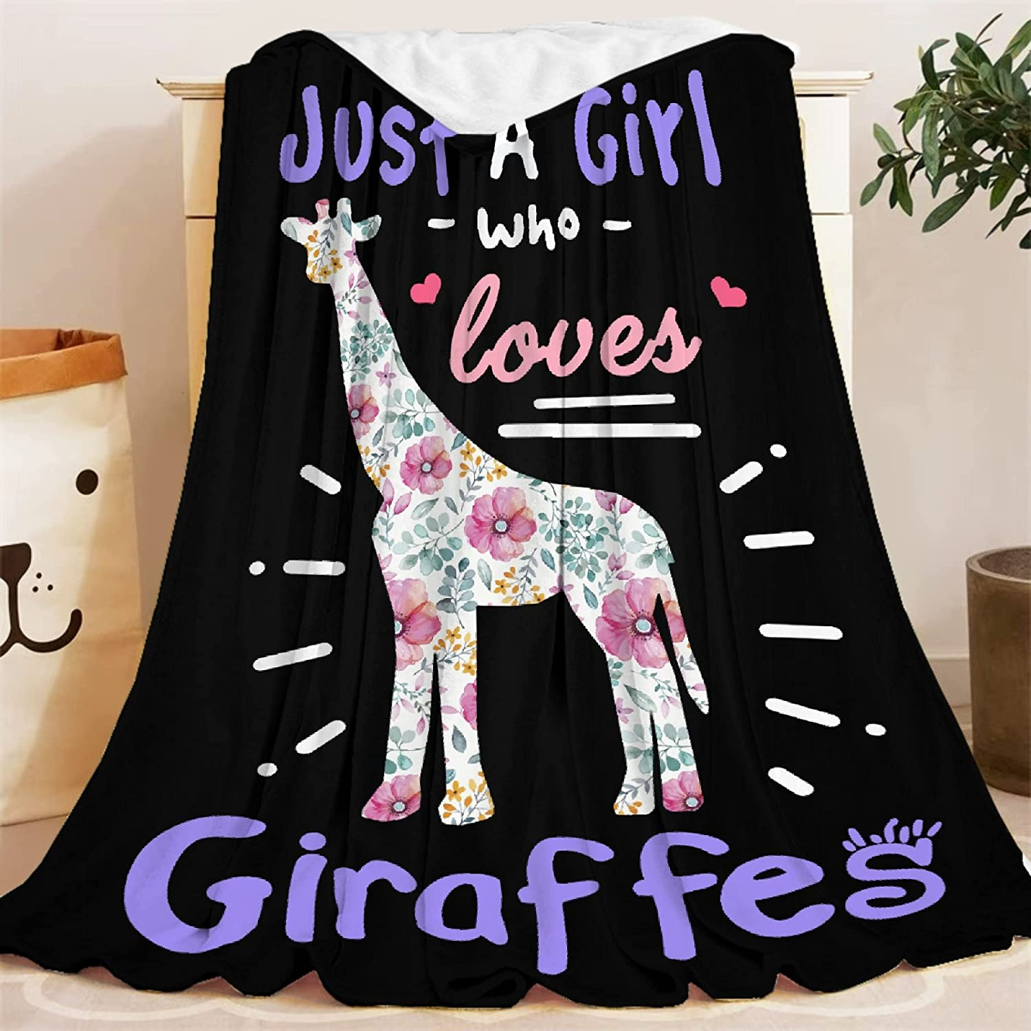 Blankets Just mart Girl Our shop OFFers the best service Who Loves Giraffes Lightweight Blanket Throw