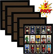 Display Geek 5 Pack, Exclusive Stackable Toy Shelves for 4 in. Funko Pop Vinyl Collectible Figures, Black Corrugated Cardboard …