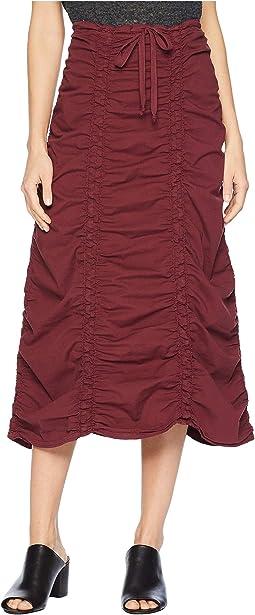 Stretch Poplin Double Shirred Panel Skirt