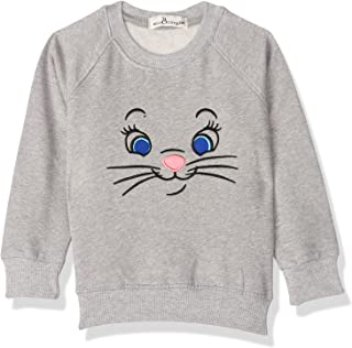 Bella Cotton BCW125APK Cat Print Ribbed Trim Long Sleeves Sweatshirt for Girls - Grey, 24 Months