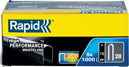 Rapid 11893511 platte draadklemmen, nr. 28, lengte 10 mm, 5000 stuks, voor kabels, witte kabel, hoog vermogen
