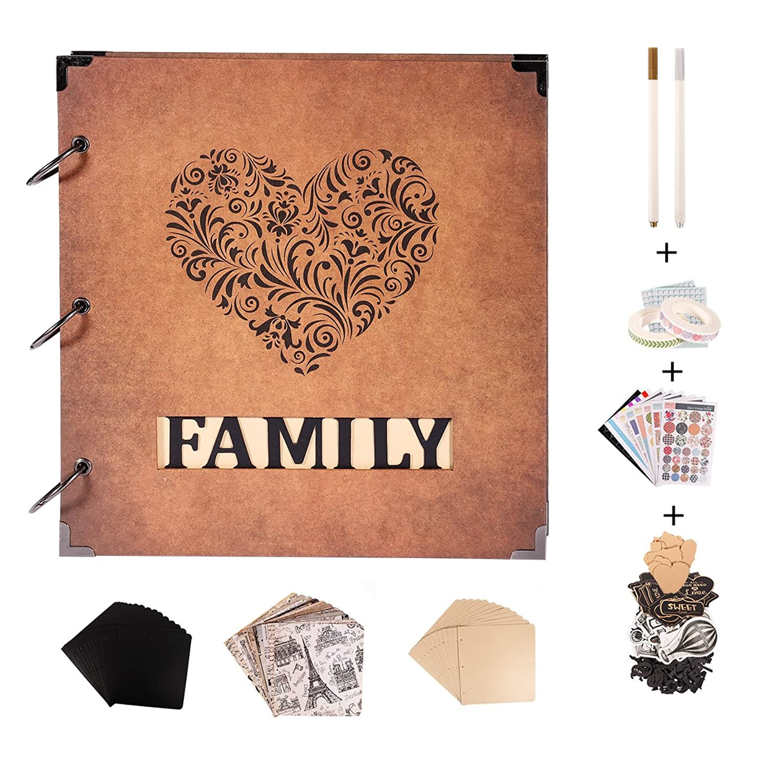 SICOHOME Scrapbook Album,10x10.5 Inch Vintage Scrapbook Ablum with Words Frame Opening
