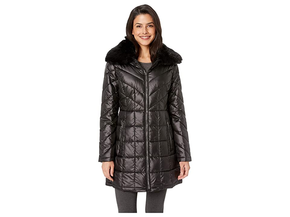 Kenneth Cole New York Zip Front Mix Quilt Puffer w/ Faux Fur Trimmed Hood (Black) Women's Coat