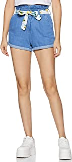 MAX Women's Solid Denim Shorts with Fabric Belt