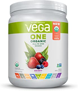 Vega One Organic All-in-One Shake Berry (9 servings) - Plant Based Vegan Protein Powder, Non Dairy, Gluten Free, Non GMO ( Pack May Vary ), 12.1 Ounce (Pack of 1)