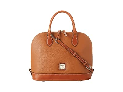 Dooney & Bourke Pebble Zip Zip Satchel (Caramel w/ Tan Trim) Satchel Handbags