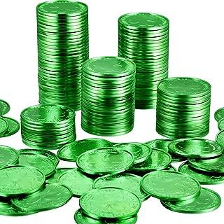 Zhanmai 200 Packs Plastic St. Patrick's Day Shamrock Coins 3-Leaf Clover Good Luck Coins Plastic Table Sprinkles (Green)