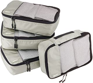 AmazonBasics 4 Piece Small Packing Travel Organizer Cubes Set - Grey