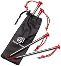 StayPut! Aero 7075 Lightweight Aluminum Anchor Peg Tent Stakes with Reflective Pull Cords and Storage Bag for Hammock Camping and Backpacking (Stakes with Storage Bag, 4-Pack, Titanium Gray & Red)