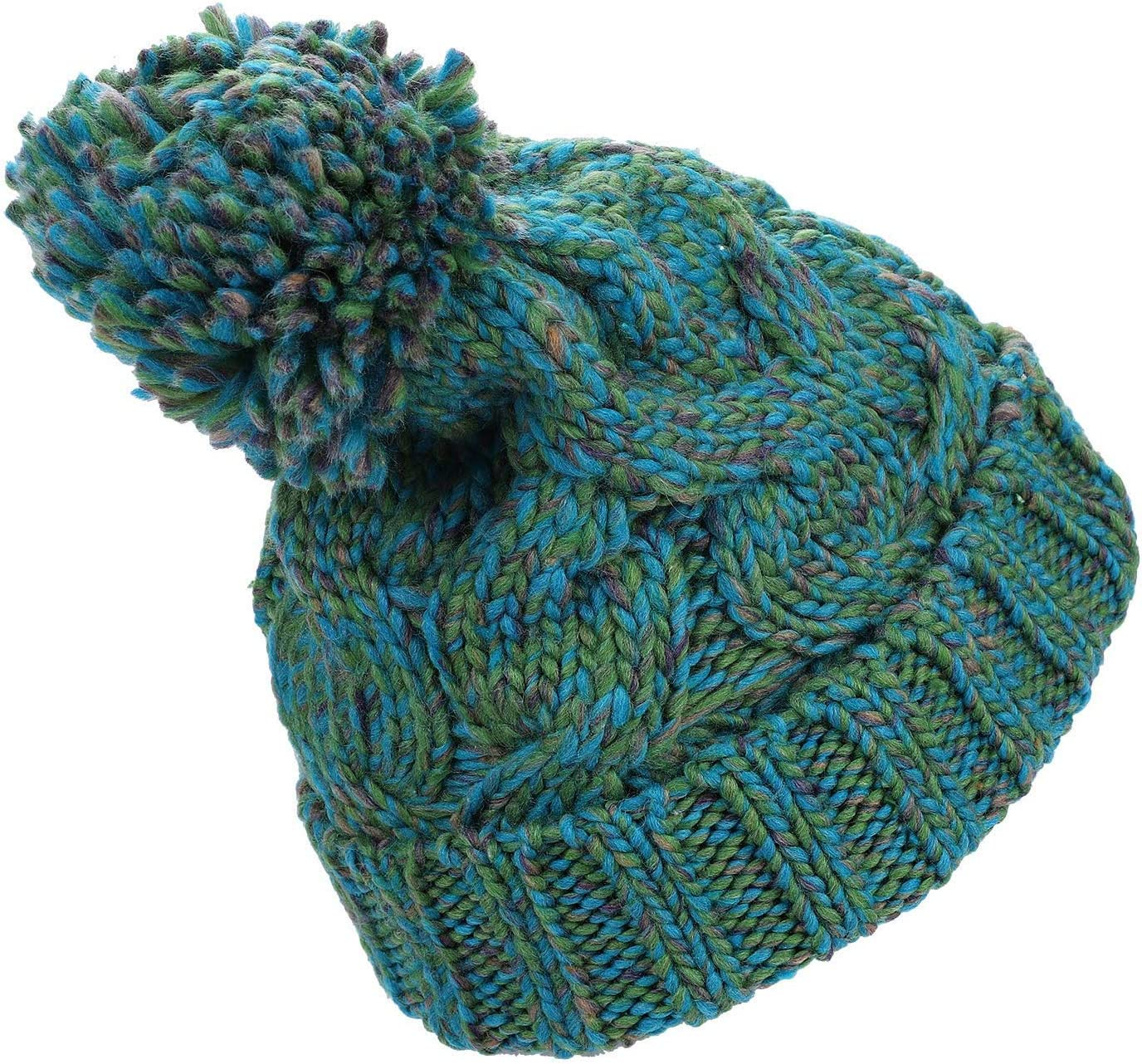 Unisex Winter Thermal Knitted Beanie Hat Pom Pom Bobble Hat Warm Slouch Crochet Hats Thicken Ear Cuff Hat Mixed Colour Chunky Ski Cap Pompon Hemming Cap for Outdoor Snowboard Walking Skating Running