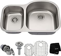 Kraus KBU25 32 inch Undermount 40/60 Double Bowl 16 gauge Stainless Steel Kitchen Sink