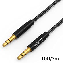 KINPS Audio Auxiliary Stereo Audio Cable 3.5mm Stereo Jack Male to Male, Stereo Jack Cord for Phones, Headphones, Speakers, Tablets, PCs, MP3 Players and More (10ft/3m, Black)