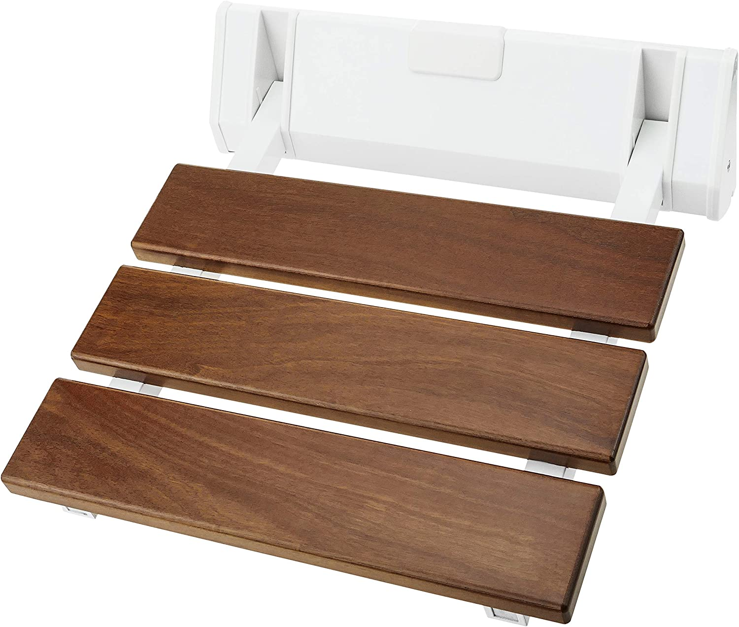 PrimeMatik Folding Shower Seat Folding Chair for Ancians, Tropical Wood and Aluminium, 320 x 328 mm (KD081)