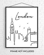 London Skyline CityScape Wall Art - 11x14 UNFRAMED, Minimalist Line Art Black & White Decor Prints. A Perfect Gift for English, Royal & UK Lovers!