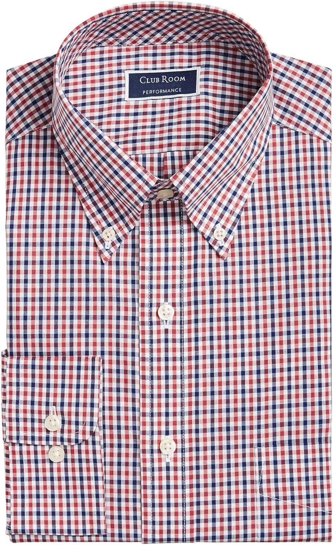 Club Room Men's Classic/Regular Fit Gingham Check Performance Dress Shirt, Claret Navy 17.5 36-37