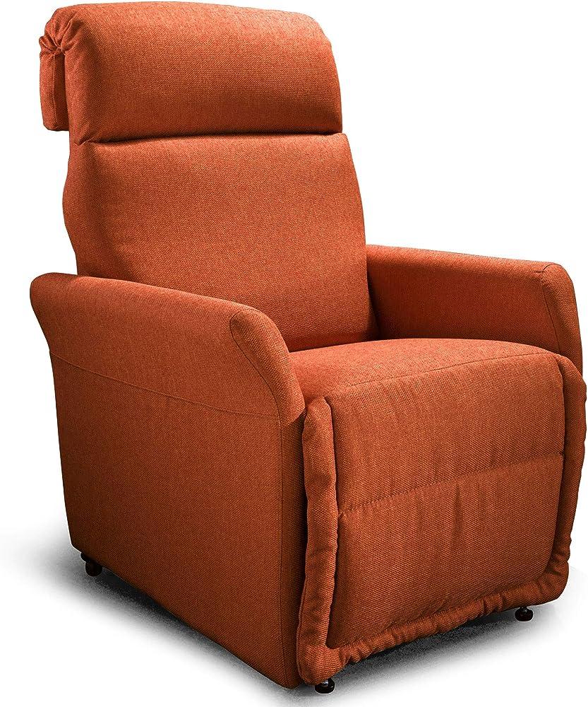 Goldflex, poltrona mod. ponza, relax alzapersona elettrica a 2 motori con reclinazione schiena/gambe. PR10AXXPOR2-ARANCIO