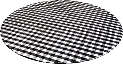 Perfk Vinyl Elastic Table Cover with Flannel Backing for Round Table, Reusable and Waterproof, 40 to 56 inch Large Round F...