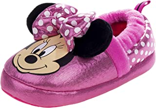 Disney Boys and Girls Soft Plush Slip-On Slippers - Minnie and Mickey Mouse